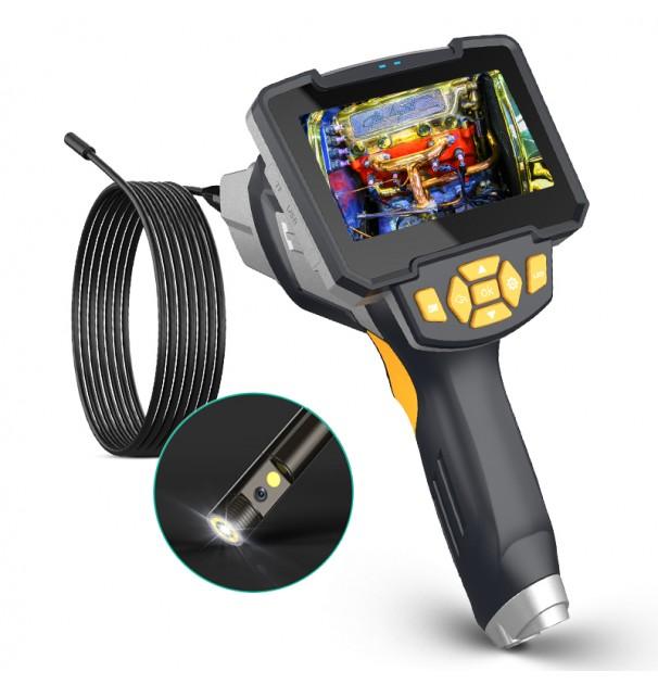 Camera inspectie endoscop cu camera dubla si display 4.3 inch, rezolutie HD 2MP 1920x1080, 6 leduri, cablu de 10m, baterie 2600mAh