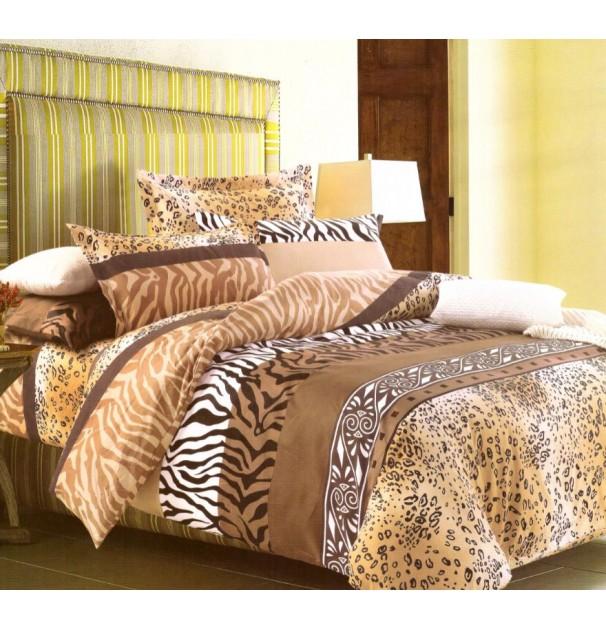 Lenjerie de pat pentru 2 persoane, 100% finet, imprimeu tigru, Multicolor