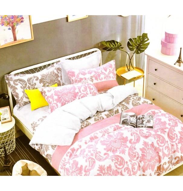 Lenjerie de pat pentru 2 persoane, 100% finet, imprimeu Roz
