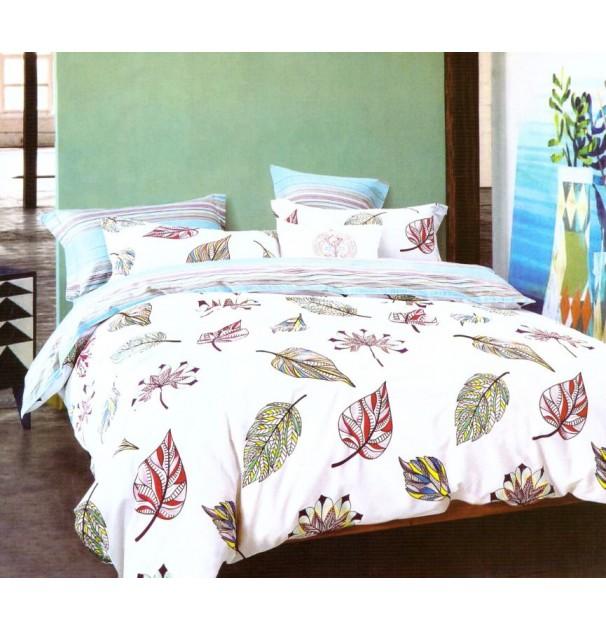 Lenjerie de pat pentru 2 persoane, 100% finet, imprimeu Frunze roz