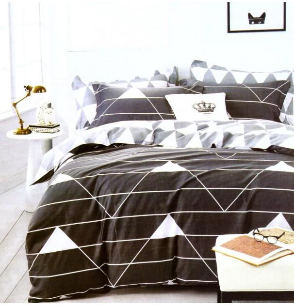 Lenjerie de pat pentru 2 persoane, 100% finet, imprimeu Bleumarin