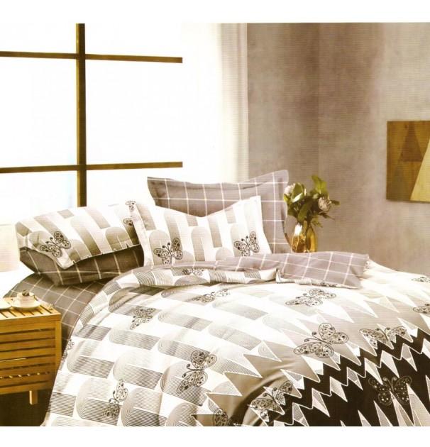 Lenjerie de pat pentru 2 persoane, 100% finet, imprimeu gri cu fluturasi