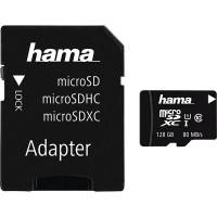 Card de memorie HAMA microSDXC 128GB + adaptor, clasa 10 UHS-I, 80MBs