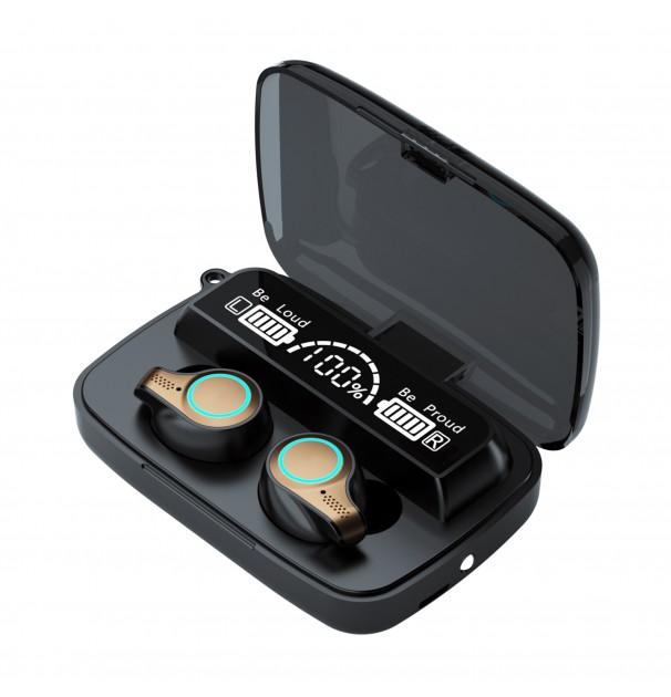 Casca Audio M18 In-Ear, baterie 2000 mAh, Bluetooth TWS 5.1, Pairing automat,Touch Control, True Wireless, Black