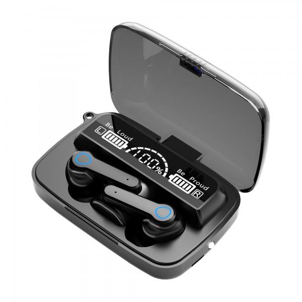 Casca Audio M19 In-Ear, baterie 2000 mAh, Bluetooth TWS 5.1, Pairing automat,Touch Control, True Wireless, Black