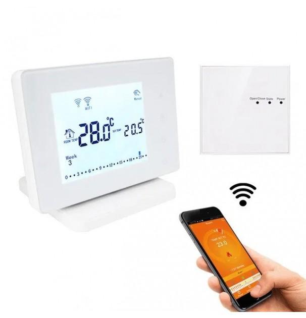 Termostat inteligent / smart WiFi Beok BOT306RF-WIFI pentru centrala termica pe gaz si incalzire in pardoseala, programabil, agent termic, anti-inghet, control de pe telefon mobil