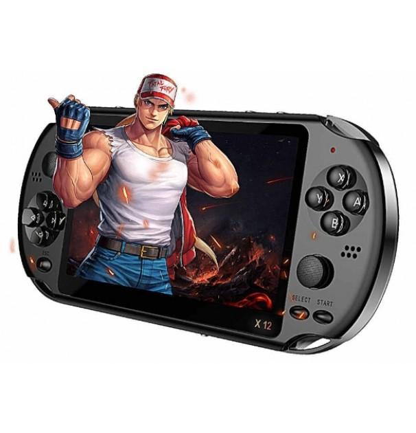Consola portabila gaming, baterie 2500 mah, X12, 8 GB, 3000 de jocuri instalate, Mario etc, Negru